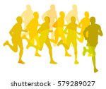 marathon runners people crowd... | Shutterstock .eps vector #579289027
