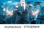 double exposure of professional ... | Shutterstock . vector #579289849