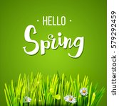 hello spring lettering with... | Shutterstock .eps vector #579292459