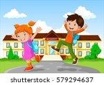 happy school children with... | Shutterstock .eps vector #579294637