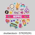 hippie  bohemian stickers  pins ... | Shutterstock .eps vector #579295291