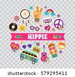 hippie  bohemian poster  card... | Shutterstock .eps vector #579295411