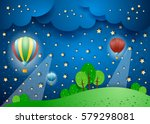 surreal landscape by night with ...   Shutterstock .eps vector #579298081