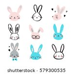 bunny  rabbits  cute characters ... | Shutterstock .eps vector #579300535