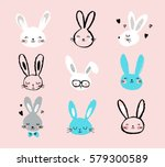 Stock vector bunny rabbits cute characters set for easter kids and baby t shirts and greeting cards 579300589