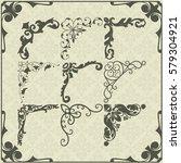 vintage design elements corners | Shutterstock .eps vector #579304921