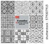 8 vector medieval seamless...   Shutterstock .eps vector #579307915