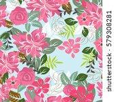 seamless flowers pattern | Shutterstock .eps vector #579308281