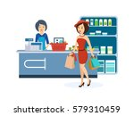 stylish girl dressed in nice... | Shutterstock .eps vector #579310459