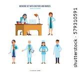 medicine set with doctors and... | Shutterstock .eps vector #579310591