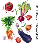 watercolor vegetables | Shutterstock . vector #579314131