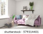 white room with sofa and winter ... | Shutterstock . vector #579314401