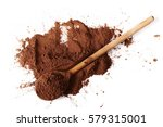 pile cocoa powder and wooden...   Shutterstock . vector #579315001