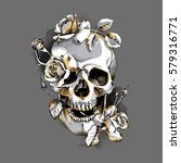 Metallic Skull With A Gold...