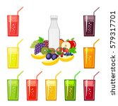 set of fresh fruit juices and... | Shutterstock . vector #579317701