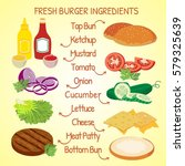 fresh hamburger ingredients... | Shutterstock .eps vector #579325639