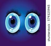 big oval cartoon eyes. wide... | Shutterstock .eps vector #579325945