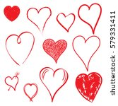 hearts icon set. love hand... | Shutterstock .eps vector #579331411