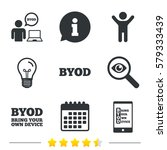 byod icons. human with notebook ... | Shutterstock . vector #579333439