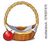 wicker basket and a red ripe... | Shutterstock .eps vector #579337375