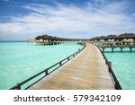 wooden water bungalows  maldives | Shutterstock . vector #579342109