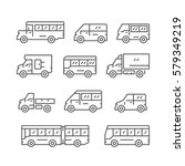 set line icons of bus and van | Shutterstock .eps vector #579349219