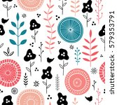 stylish vector floral seamless... | Shutterstock .eps vector #579353791