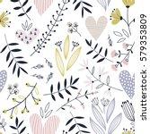 romantic seamless vector floral ... | Shutterstock .eps vector #579353809