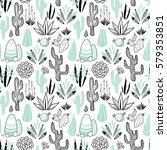 vector floral seamless pattern... | Shutterstock .eps vector #579353851