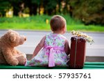 Little Girl With Bear And...