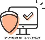 computer protection icon vector | Shutterstock .eps vector #579359605