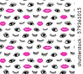 hand drawn eye  pink lips... | Shutterstock .eps vector #579361015