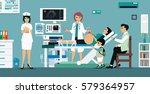 doctor ultra sound pregnant...   Shutterstock .eps vector #579364957