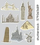 sightseeing stickers   Shutterstock .eps vector #579365689