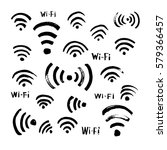 hand drawn sketch wi fi icon... | Shutterstock .eps vector #579366457