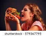 woman eating sandwich. girl... | Shutterstock . vector #579367795