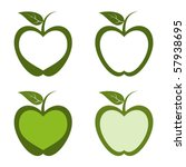abstract,apple,design,element,food,fruit,green,health,healthy,heart,illustration,leaf,outline,shape,sign