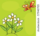 flowers and butterfly | Shutterstock .eps vector #57940705