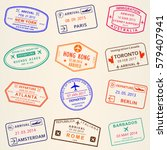 visa stamp set. arrival and... | Shutterstock .eps vector #579407941