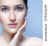 closeup portrait of attractive... | Shutterstock . vector #579422659