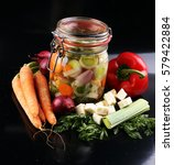 Jar With Variety Of Pickled...