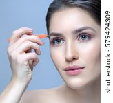 beauty woman with perfect skin...   Shutterstock . vector #579424309