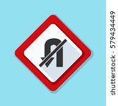 no u turn sign illustration | Shutterstock .eps vector #579434449