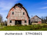 worn and weathered corn farm... | Shutterstock . vector #579438601