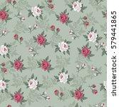 seamless vintage flower pattern ... | Shutterstock .eps vector #579441865