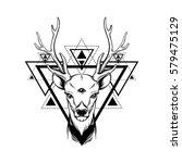hand sketched deer.... | Shutterstock .eps vector #579475129