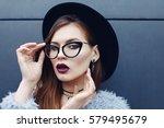 young beautiful fashionable... | Shutterstock . vector #579495679