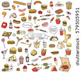 hand drawn doodle fast food...   Shutterstock .eps vector #579505951