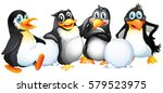 four penguins with snowballs... | Shutterstock .eps vector #579523975