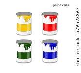 paint cans  four colors vector | Shutterstock .eps vector #579528367